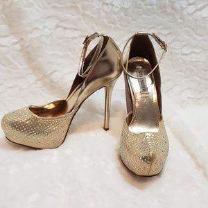 Shoes - Steve Madden  gold slingback stilettos